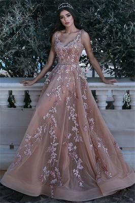 V-neck Sleeveless Champagne Pink Prom Dresses  Appliques Beads Sequins Evening Gown with Flowers BA7913_1