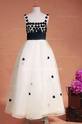 White Flower Girl Dresses Scoop Flowers Beading Lovely Sweep Train Zipper Organza Pageant Dress_4
