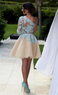 A-Line One Shoulder Mini Homecoming Dress Half Sleeve Short  Cocktail Gowns_3