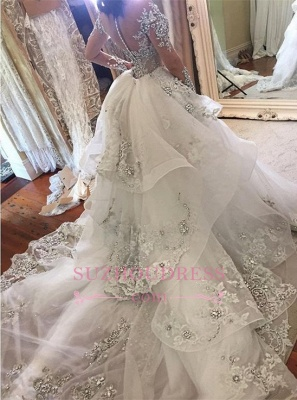 Glamorous Long Sleeves Tulle High Neck  Bride Dresses Appliques Wedding Dresses with Detachable Overskirt qq0375_1