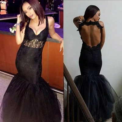 Sexy Black Mermaid V-Neck Prom Dresses  Open Back Sleeveless Evening Gowns_3