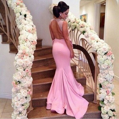 Pink Prom Dress Backless Mermaid Long Evening Dress_3