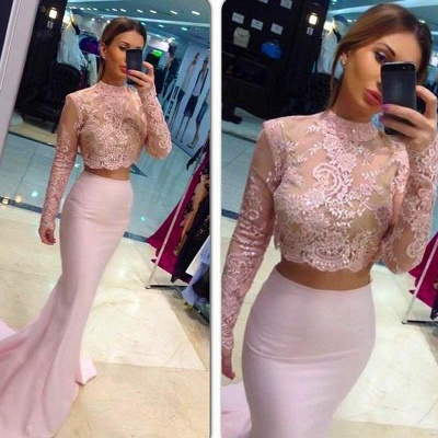 Mermaid High Collor Long Sleeve Evening Dress Two-Piece Lace Applique  Party Dresses BA0533_3