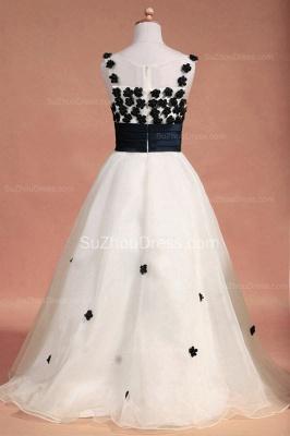 White Flower Girl Dresses Scoop Flowers Beading Lovely Sweep Train Zipper Organza Pageant Dress_7