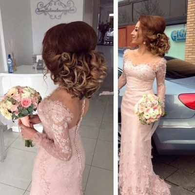 Lace Appliques Dresses for Maid of Honor Sheath Buttons Long Sleeve Sheer Pink Bridesmaid Dress BA6203_3