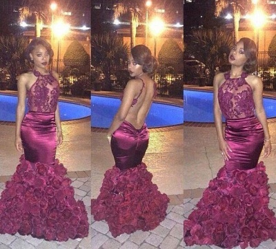 Floral Mermaid Prom Dresses Sexy Backless Evening Gowns  BA1533_2