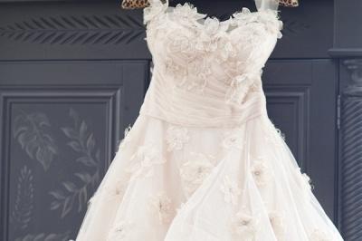 Elegant Spaghetti Strap Tulle Applique Long Wedding Dress In Pink CJ0319_5
