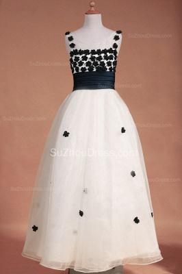 White Flower Girl Dresses Scoop Flowers Beading Lovely Sweep Train Zipper Organza Pageant Dress_1