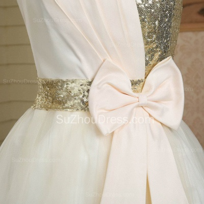 New Arrival Strapless Cute Satin Short Bridesmaid Dress Lace-Up Sequined Bowknot Mini Wedding Dress_4