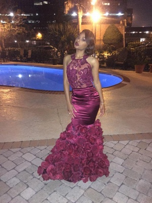 Floral Mermaid Prom Dresses Sexy Backless Evening Gowns  BA1533_3