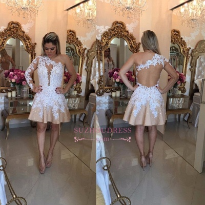 Lace Appliques One Shoulder Newest Short  A-Line Homecoming Dresses_1