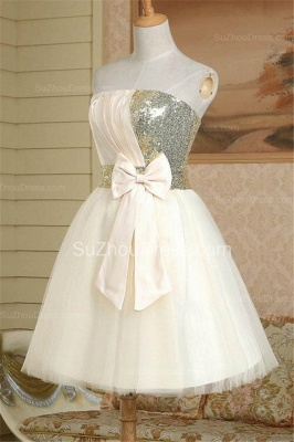 New Arrival Strapless Cute Satin Short Bridesmaid Dress Lace-Up Sequined Bowknot Mini Wedding Dress_2