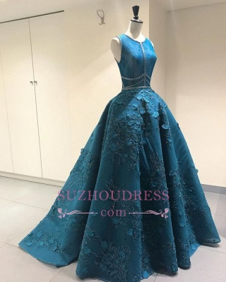 Elegant Sleeveless Princess Evening Dress  | A-Line Open Back Prom Dresses with Flowers_1