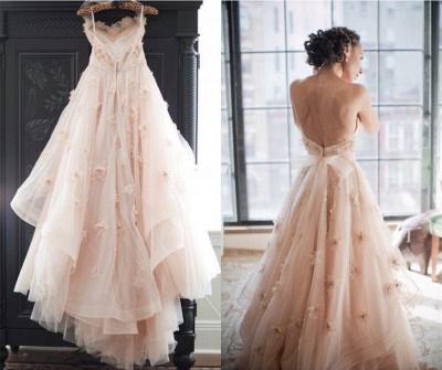 Elegant Spaghetti Strap Tulle Applique Long Wedding Dress In Pink CJ0319_3