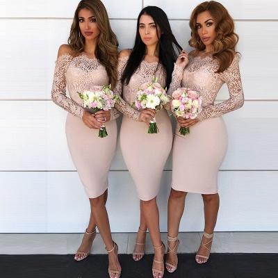 Long-Sleeve Lace Bridesmaid Dress   Knee-Length Sheath Maid of Honor Dress_3