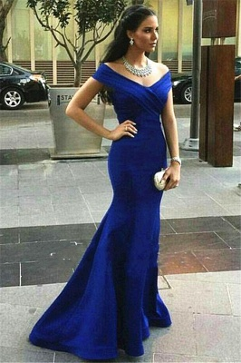 Off-the-shoulder Evening Dresses Mermaid Royal Blue Prom Dress_4