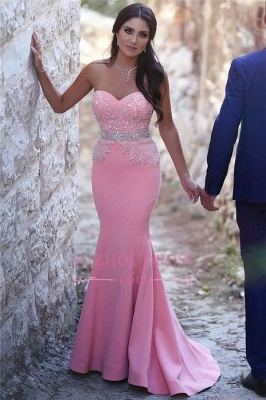 Pretty Sleeveless Mermaid Evening Dress  Sequins Beads Pink Crystals Sweetheart Prom Dress_4