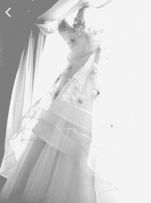 Elegant Spaghetti Strap Tulle Applique Long Wedding Dress In Pink CJ0319_4