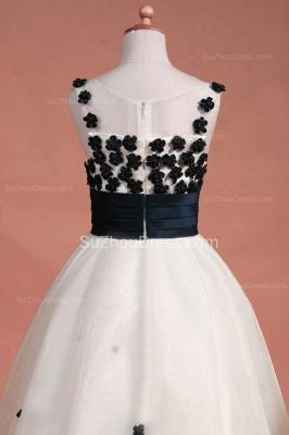 White Flower Girl Dresses Scoop Flowers Beading Lovely Sweep Train Zipper Organza Pageant Dress_9
