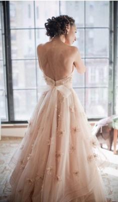 Elegant Spaghetti Strap Tulle Applique Long Wedding Dress In Pink CJ0319_2