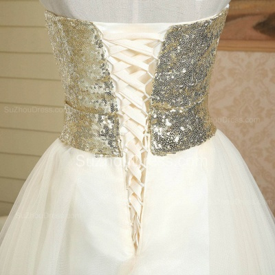 New Arrival Strapless Cute Satin Short Bridesmaid Dress Lace-Up Sequined Bowknot Mini Wedding Dress_5