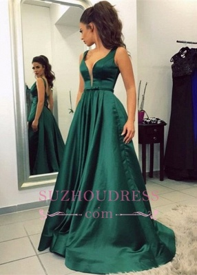 Newest Green Sleeveless V-neck A-line Backless Prom Dress_2