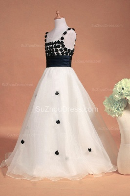 White Flower Girl Dresses Scoop Flowers Beading Lovely Sweep Train Zipper Organza Pageant Dress_8