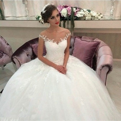 Lace Ball Gown Wedding Dresses Puffy Tulle Princess Bride Dress_1