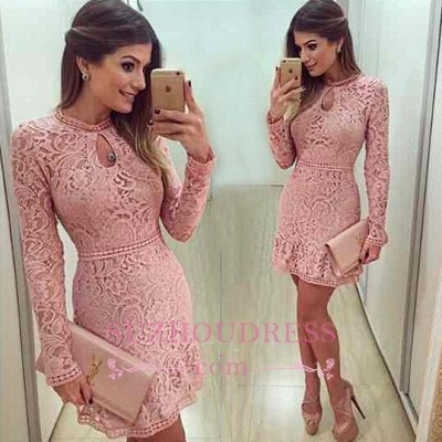 Charming A-line Scoop Neckline Long Sleeves Pink Short Lace Prom Dress_1