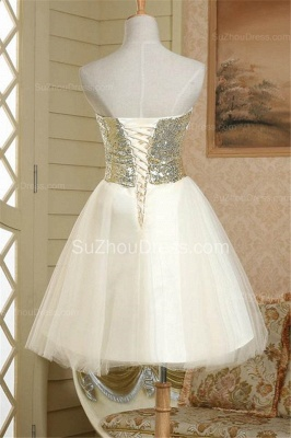 New Arrival Strapless Cute Satin Short Bridesmaid Dress Lace-Up Sequined Bowknot Mini Wedding Dress_3
