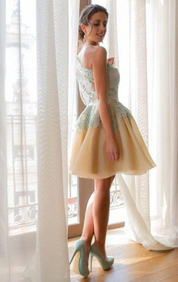 A-Line One Shoulder Mini Homecoming Dress Half Sleeve Short  Cocktail Gowns_4