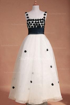 White Flower Girl Dresses Scoop Flowers Beading Lovely Sweep Train Zipper Organza Pageant Dress_3
