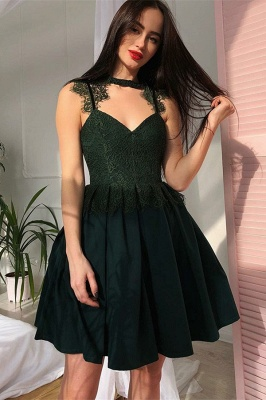 Green A-Line V-Neck Short Homecoming Dress |  Lace Sleeveless Homecoming Dresses_3