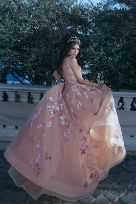 V-neck Sleeveless Champagne Pink Prom Dresses  Appliques Beads Sequins Evening Gown with Flowers BA7913_4