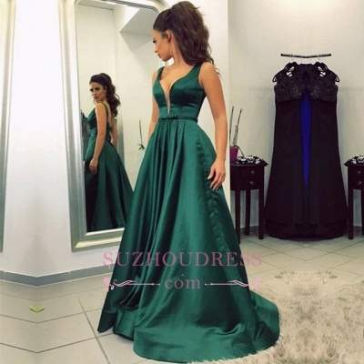 Newest Green Sleeveless V-neck A-line Backless Prom Dress_1