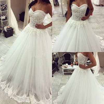 New Arrival Sweetheart Tulle Wedding Dress A-line Lace Applique Princess Dress_3