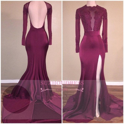 Backless Long Sleeves  Burgundy Mermaid Appliques Side-Slit Prom Dress BA5416_1