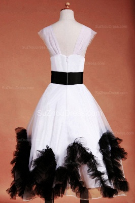 Cuty White Flower Girl Dresses Square Black Sash Tiered Ruffle Lovely Floor Length Zipper Organza Pageant Dress_10