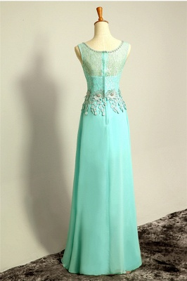 Ice Blue Floor Length Lace  Prom Gowns Applique Sexy Charming Evening Dresses_2