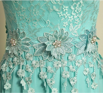 Ice Blue Floor Length Lace  Prom Gowns Applique Sexy Charming Evening Dresses_5
