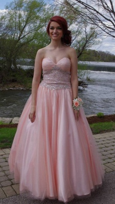 Cute Pink Sweetheart  Popular Long Dress Crystal Fashional Ball Gowns_1