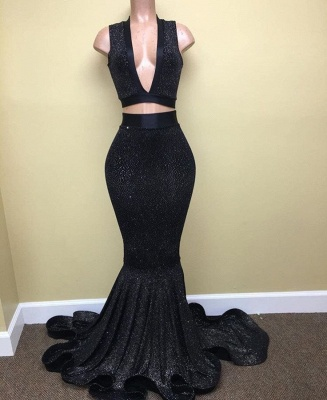 Black Two Pieces Sequined Prom Dresses  Deep V-Neck Sleeveless Evening Dresses BA8041_3