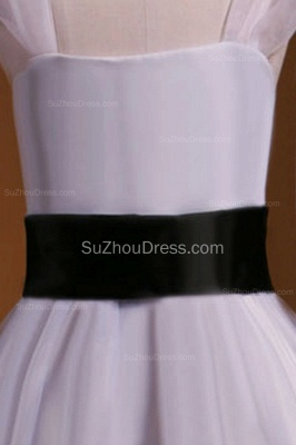 Cuty White Flower Girl Dresses Square Black Sash Tiered Ruffle Lovely Floor Length Zipper Organza Pageant Dress_3