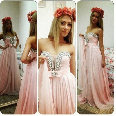 New Arrival Sweetheart Chiffon Prom Dress A-Line Crystal Formal Occasion Dresses_4