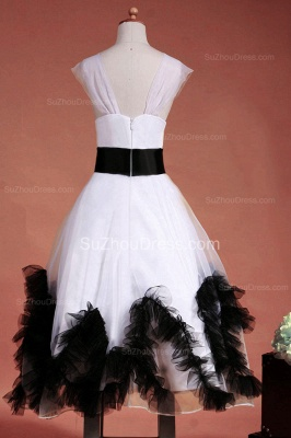 Cuty White Flower Girl Dresses Square Black Sash Tiered Ruffle Lovely Floor Length Zipper Organza Pageant Dress_9
