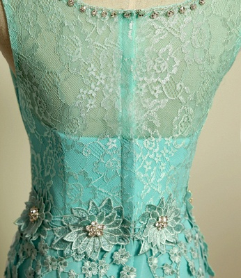 Ice Blue Floor Length Lace  Prom Gowns Applique Sexy Charming Evening Dresses_3