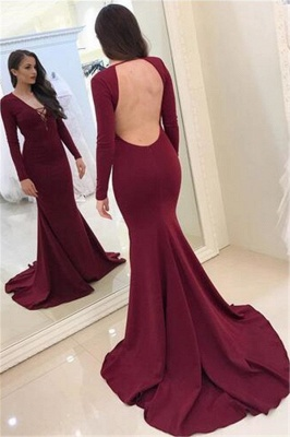 Sexy Burgundy Long Sleeves Evening Dresses  Backless Mermaid V-Neck Prom Dresses_1