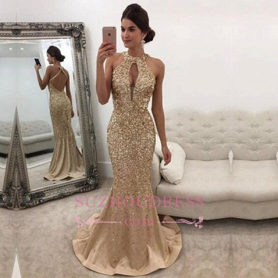 Gorgeous Backless Formal Dress  Mermaid Halter Sleeveless Crystals Prom Dress BA5572_1
