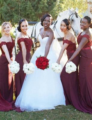 Glamorous Mermaid Lace Off-the-Shoulder Appliques Burgundy   Bridesmaid Dress_1
