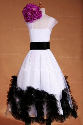 Cuty White Flower Girl Dresses Square Black Sash Tiered Ruffle Lovely Floor Length Zipper Organza Pageant Dress_4